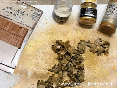 Tim Holtz Idea-Ology Trimmings and Brusho SprinkleIT - mixed media art by Jenny James