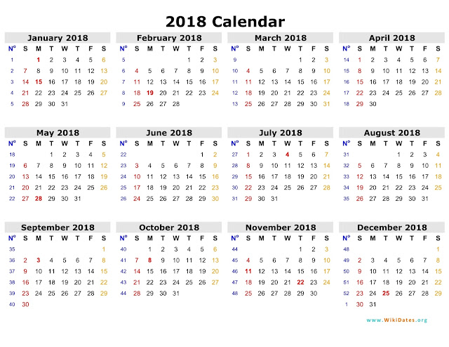 2018 Calendar, Free 2018 Calendar, 2018 Calendar Printable, 2018 Calendar Template, Printable 2018 Calendar, Calendar 2018, 2018 Calendar Holidays
