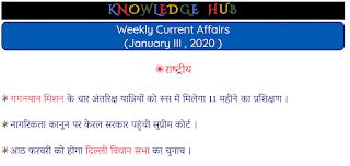 Weekly Current Affairs (January III , 2020 )