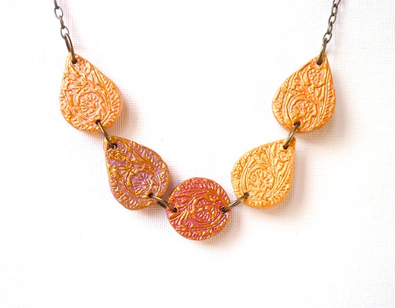 recycled paper necklace on bronze chain