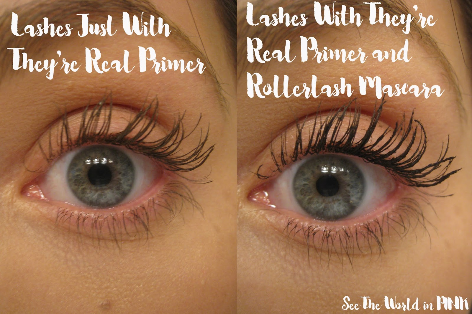 258f16cb95e For each of these, I used 1 coat of They're Real! Lash Primer, followed by  1 coat of Rollerlash Mascara.