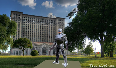robocop statue in detroit, train station, wayne state campus, look like