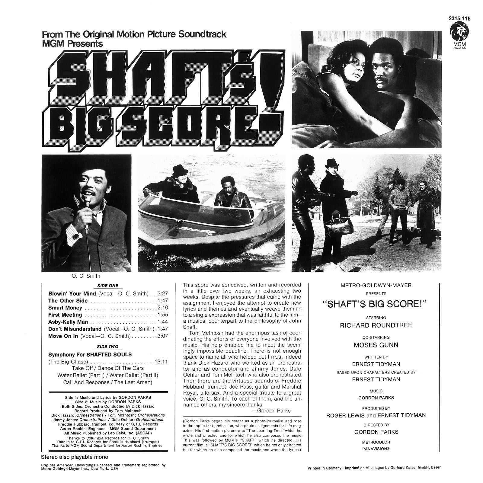 Music Crates Gordon Parks Shaft S Big Score Soundtrack 1972