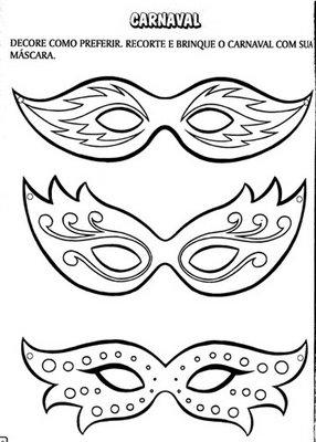 ♥ProfªAnanda♥: Máscaras de Carnaval para Colorir