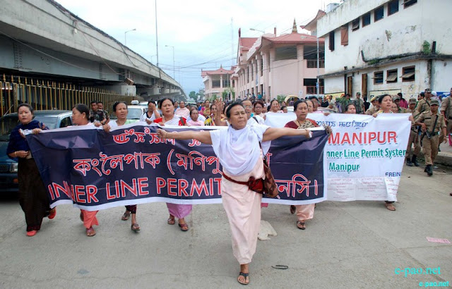 Rally for Inner Line Permit (ILP) by women activists of IMA Market at BT