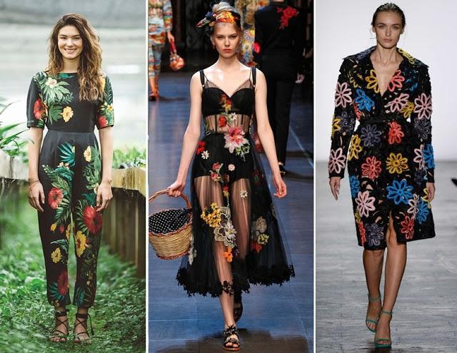 Tendência de moda primavera verão 2018 - estampa floral grande
