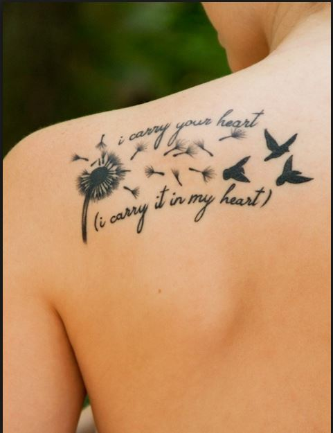 Back shoulder quote tattoo