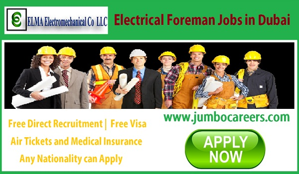 Electrical jobs in Gulf countries with free visa, Current Dubai company jobs,