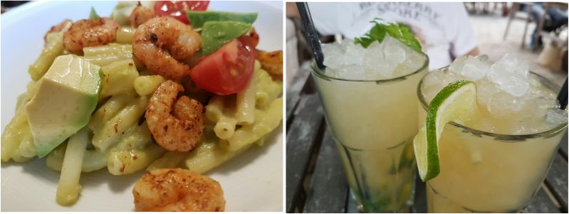 Avocado-Shrimps-Pasta plus Caipirinha