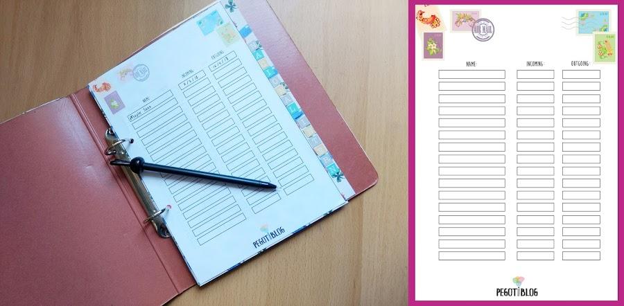 Pegotiblog - Hoja para llevar el registro de los envíos (Descargable para snail mail)