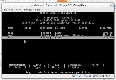 Arch Linux cfdisk program
