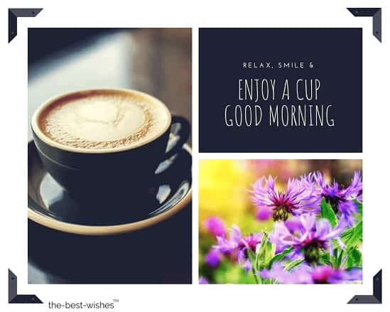 good morning coffee images with flowers