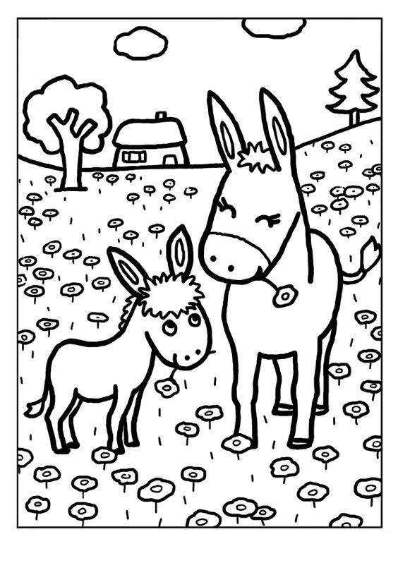 Tranh tô màu gia đình con ngựa xinh