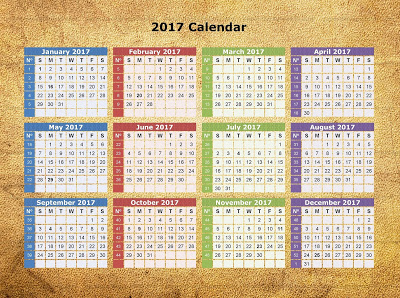 calendar 2017 with holidays