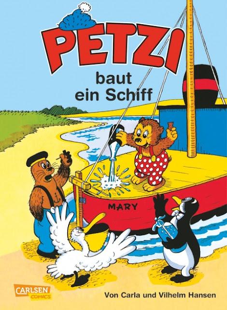 """Das Bücherboot auf Küstenkidsunterwegs hat diesmal ganz viele Kinderbücher, Jugendbücher und sogar ein paar Bücher für Erwachsene an Bord, die sich allesamt um das Thema """"Ferien und Urlaub am Meer"""" drehen! Ein Kinderbuch-Klassiker ist z.B. """"Petzi baut ein Schiff""""."""
