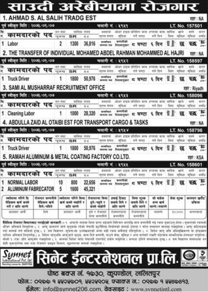 Jobs For Nepali In Saudi Arabia, Salary -Rs.50,976/