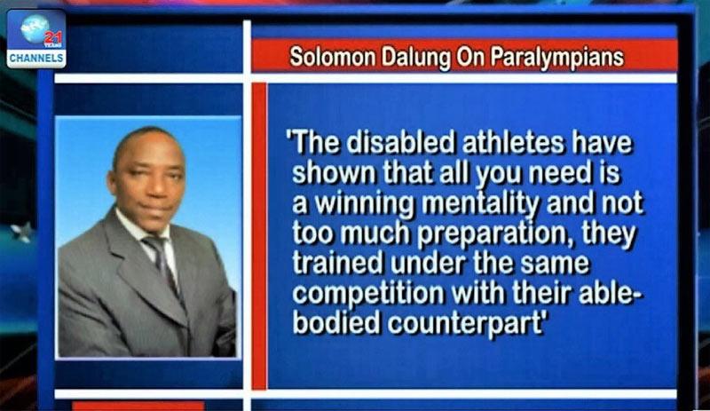 According to Sports minister Solomon Dalung...