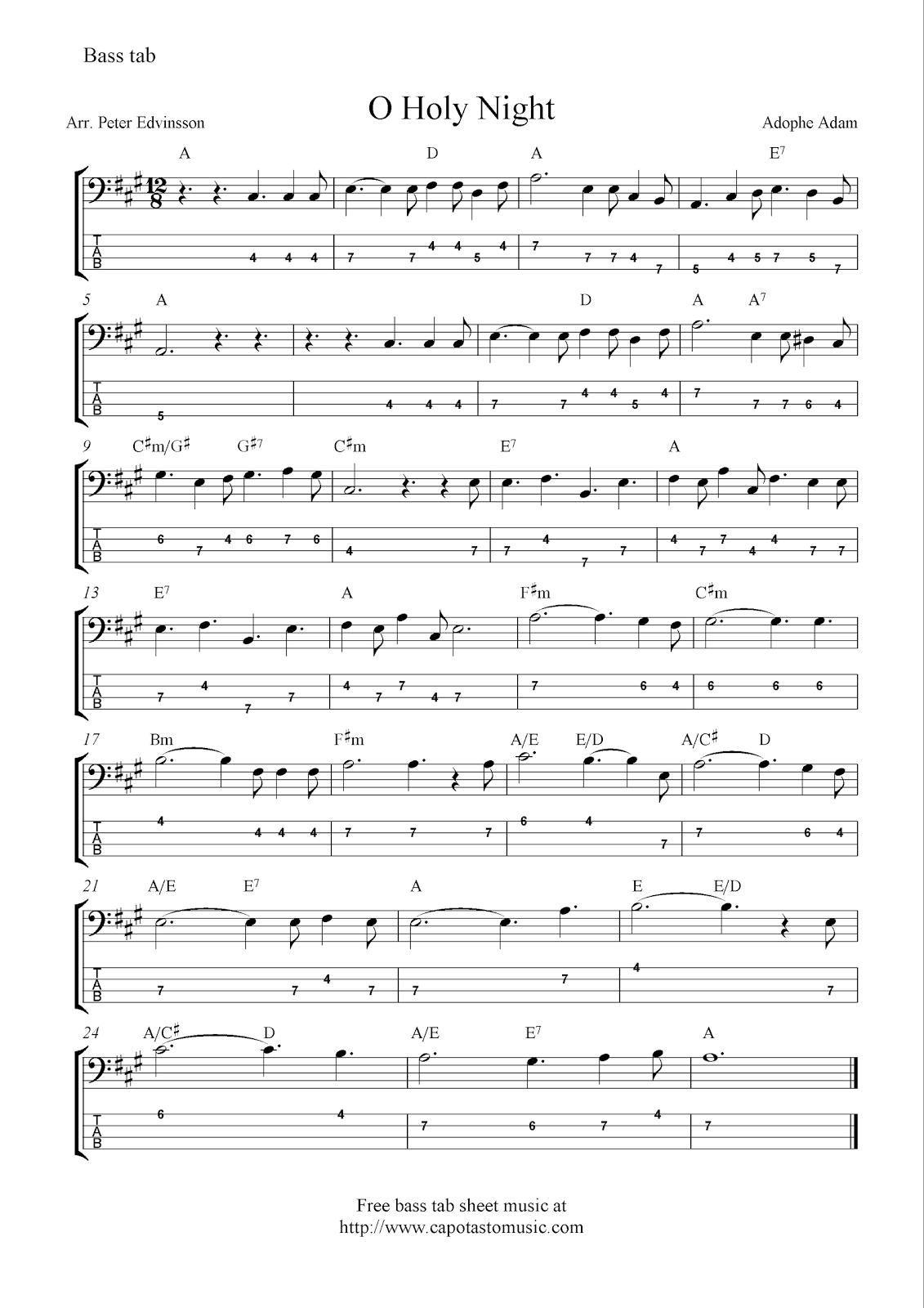O Holy Night, free Christmas bass tab sheet music notes