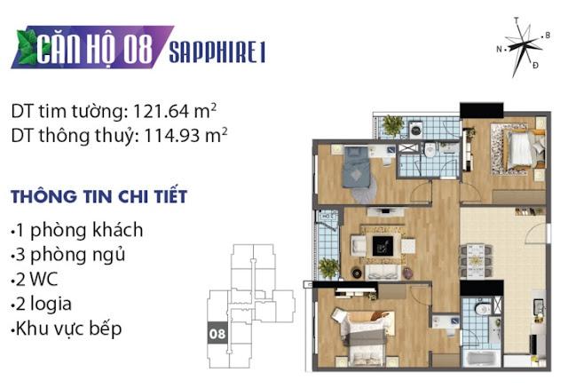 Thiết kế căn hộ số 8 tòa Sapphire 1