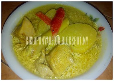 Resepi masak lemak, masak lemak ayam dengan kentang, ayam dan kentang masak lemak