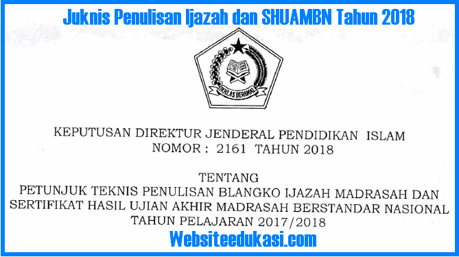 Penulisan Ijazah Madrasah dan SHUAMBN Tahun  K13 Semester 2 2019 : Juknis Penulisan Ijazah Madrasah Tahun 2019