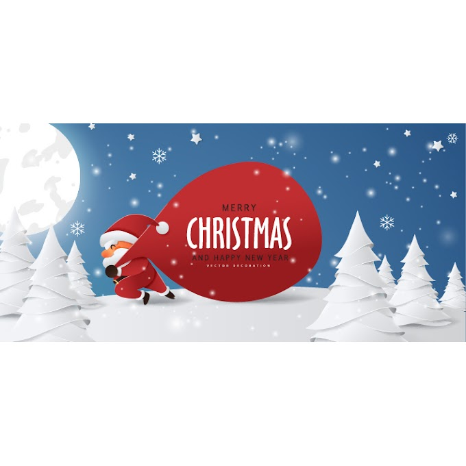 Paper funny Santa carrying Christmas gifts vector