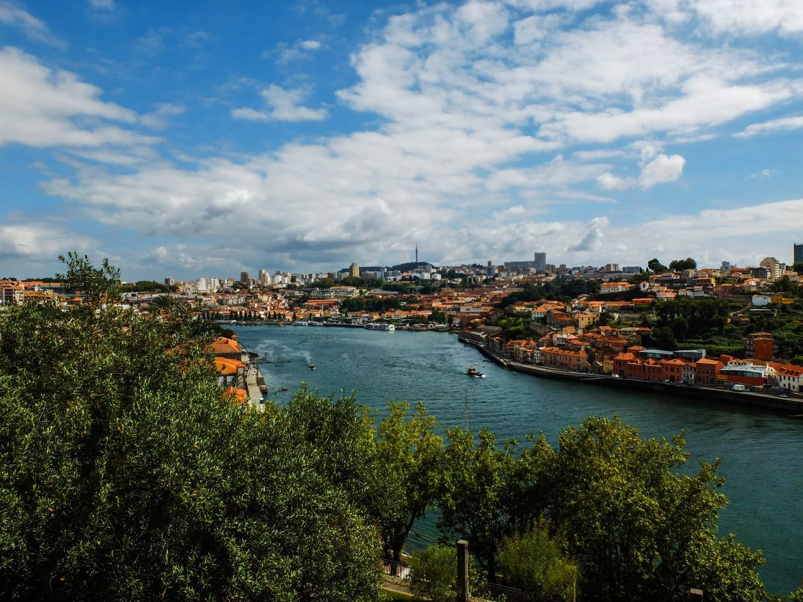 View of the Douro River from Palacio de Cristal Gardens in Porto, Portugal.