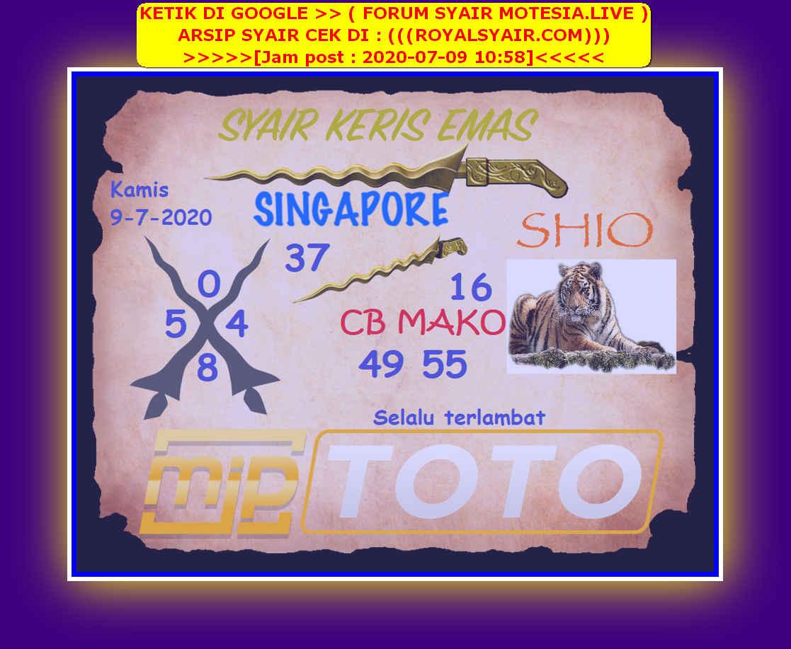 Kode syair Singapore Kamis 9 Juli 2020 93
