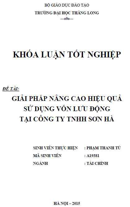 Giải pháp nâng cao hiệu quả sử dụng vốn lưu động tại Công ty TNHH Sơn Hà