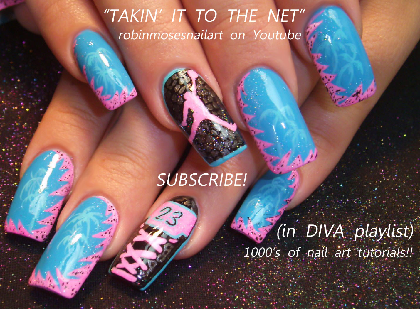 BARBIE PINK & BRIGHT TEAL AIR JORDAN… - Nail Art By Robin Moses: