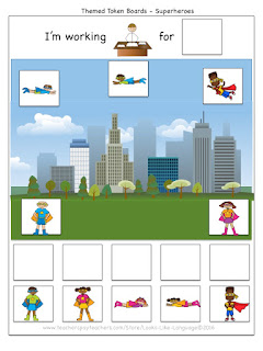 Themed Token Board Freebie from Looks-Like-Language- Superheroes!