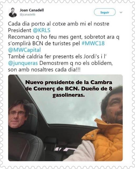 Cada dia porto al cotxe amb mi el nostre President @KRLS Recomano q ho feu mes gent, sobretot ara q s´omplirà BCN de turistes pel #MWC18 També caldria fer presents els Jordi ´s i l´Junqueras  Demostrem q no els oblidem, son amb nosaltres cada dia !!!