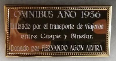 placa Omnibus Binefar Caspe