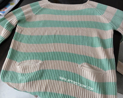 striped mint green - beige sweater
