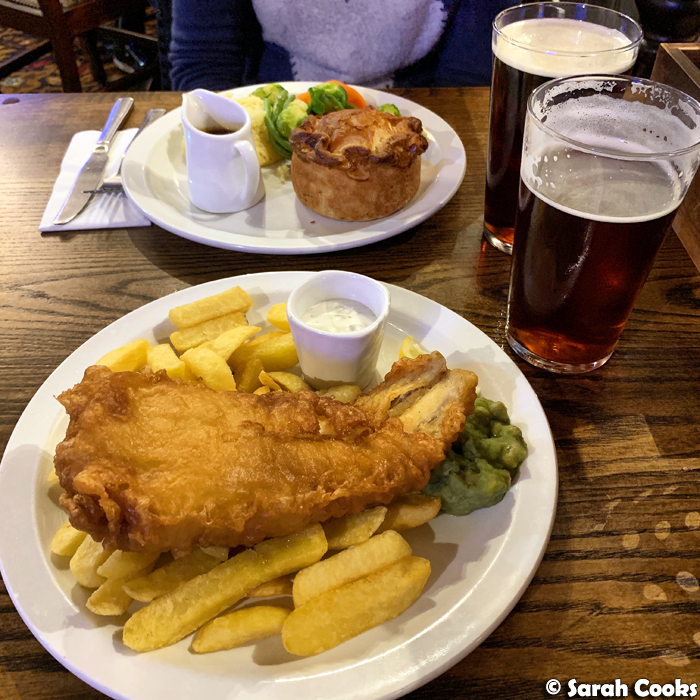 Fish and Chips at Green Man Pub in London