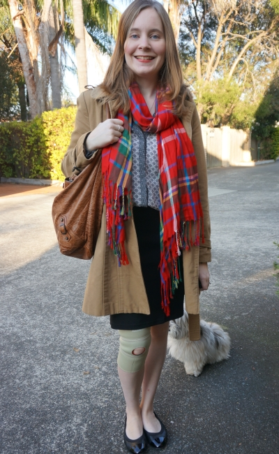 Print Mixing in the office shirt and tartan scarf camel trench brown balenciaga day bag