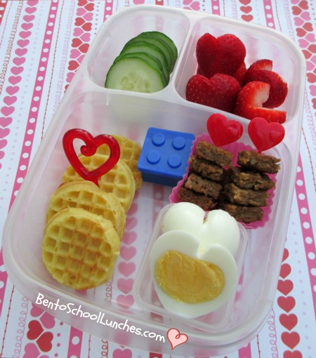 Valentine's waffles breakfast for lunch, bento school lunches