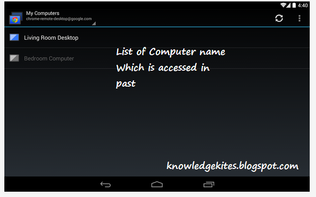 Save remote desktop on mobile phone - android