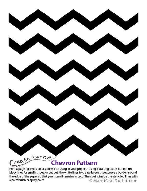 Party ideas by mardi gras outlet chevron pattern stencil for Chevron template for painting