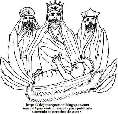 Imagen de los Reyes Magos para colorear, pintar o imprimir. Dibujo de los tres Reyes Magos de Jesus Gómez