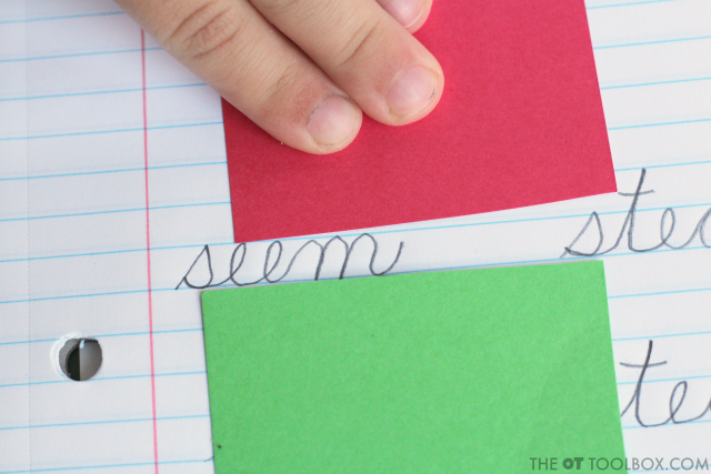 Use color-coded visual guides to help kids to work on handwriting letter size tricks to help kids with cursive legibility and consistent cursive handwriting.