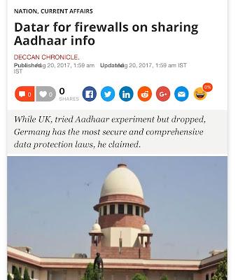 Datar for firewalls on sharing Aadhaar info   Deccan Chronicle