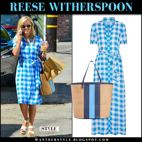 Reese Witherspoon in blue gingham dress draper james what she wore june 28 2017