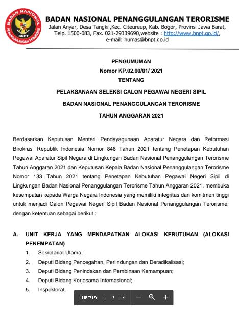 Pendaftaran CPNS Badan Nasional Penanggulangan Terorisme Tahun Anggaran 2021