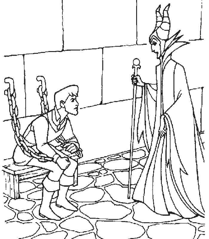 Sleeping Beauty and Wicked Witch Coloring Pages