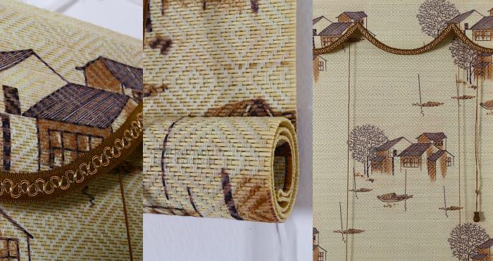 Eco Friendly High Density Brown Natural Bamboo Shades With Valance, cortinas de bamboo, bamboo curtains, Roman Shade Sale
