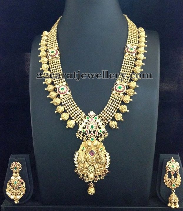 Nakshi Balls Edged Gold Long Chain