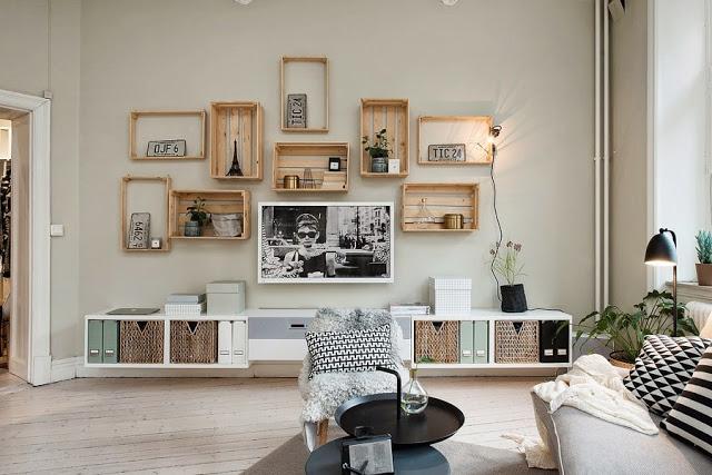 nichos sala tv reutilizar caixotes de madeira