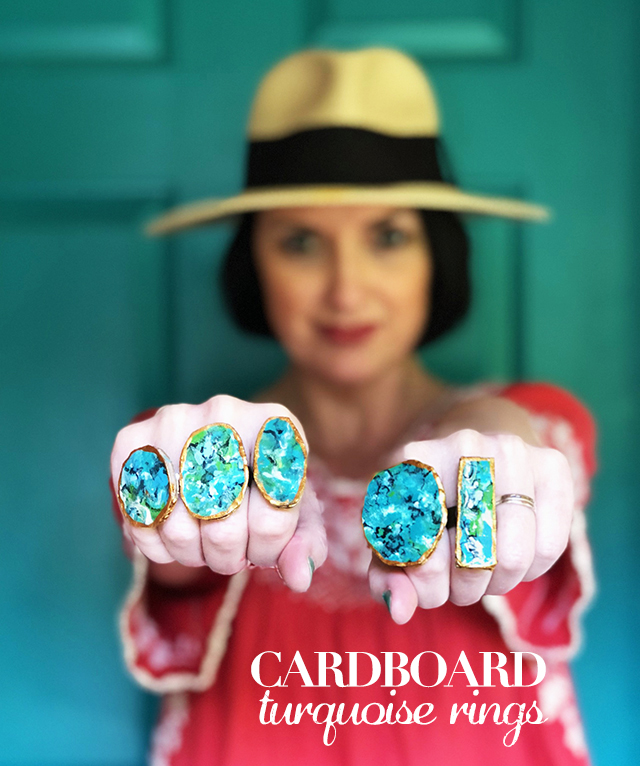 cardboard turquoise rings