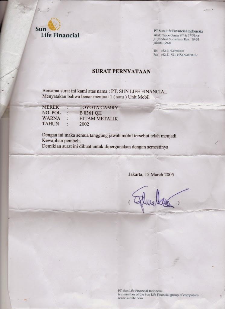Surat Pelepasan Hak dari PT. Sun Life Financial